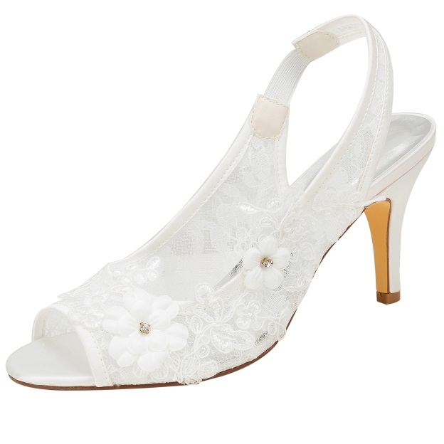 Peep Toe Pumps Wedding Shoes Stiletto Heel Lace Wedding Shoes With Appliqued Rhinestone