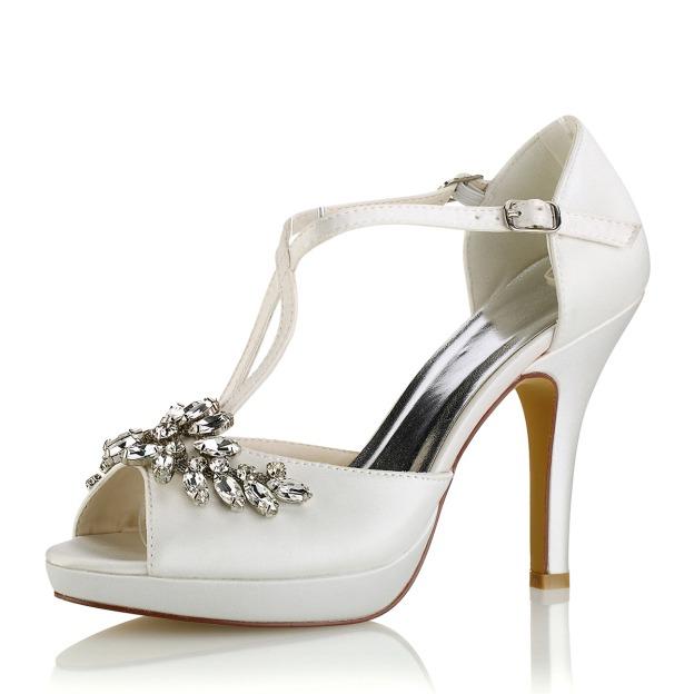 Peep Toe Platform Pumps Stiletto Heel Satin Wedding Shoes With Buckle Crystal Rhinestone