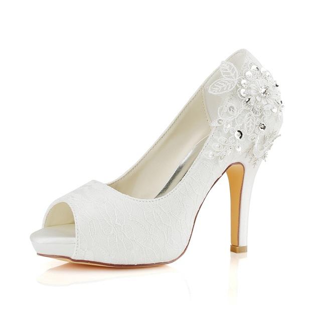 Peep Toe Platform Pumps Wedding Shoes Stiletto Heel Lace Wedding Shoes With Appliqued Rhinestone Sequins