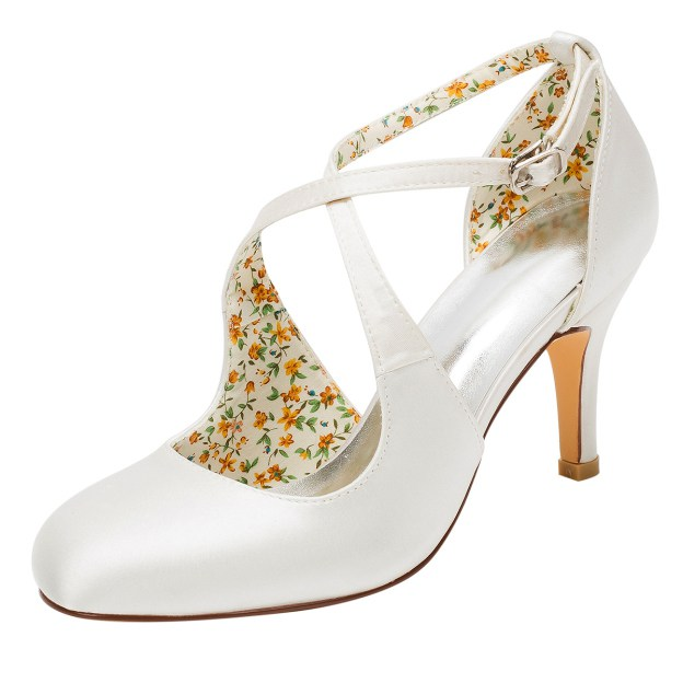 Close Toe Wedding Shoes Round Toe Stiletto Heel Satin Wedding Shoes With Buckle