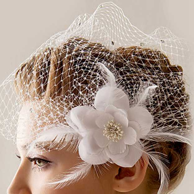 Net Yarn Ladies Flowers & Feathers With Flower Feather