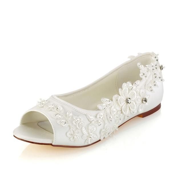 Flats Peep Toe Wedding Shoes Flat Heel Satin Wedding Shoes With Appliqued Rhinestone Sequins