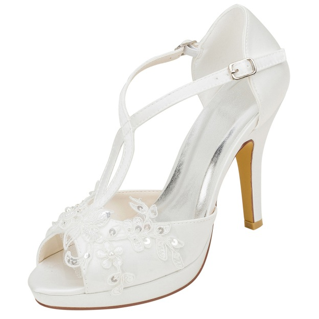 Pumps Platform Peep Toe Stiletto Heel Satin Wedding Shoes With Sequins Appliqued Buckle