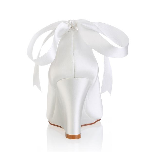 Peep Toe Wedges Wedding Shoes Wedge Heel Satin Wedding Shoes With Imitation Pearl Ribbon Tie