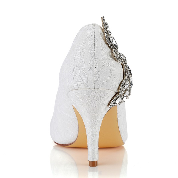 Close Toe Wedding Shoes Round Toe Stiletto Heel Lace Wedding Shoes With Crystal Rhinestone