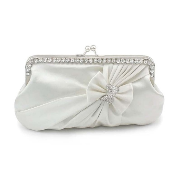 Silk Chain Clutches With Bowknot Pleated