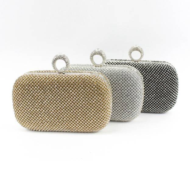 Rhinestone Adjustable Clutches With Glitter