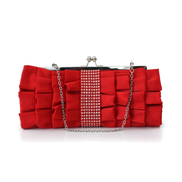 Satin Detachable Clutches With Crystal/Rhinestone Pleated
