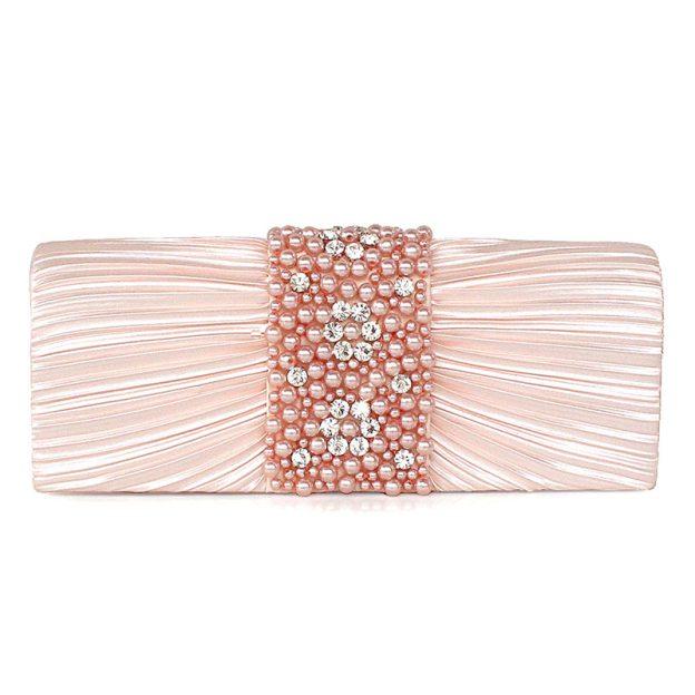 Imitation Pearl Ruffles Silk Chain Clutches With Imitation Pearl Ruffles