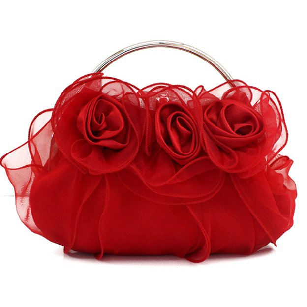 Tulle Single Strap Bridal Purse With Flower