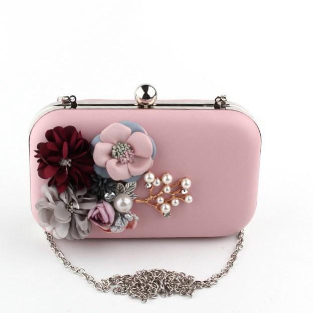 Pu Chain Clutches With Flower Beading