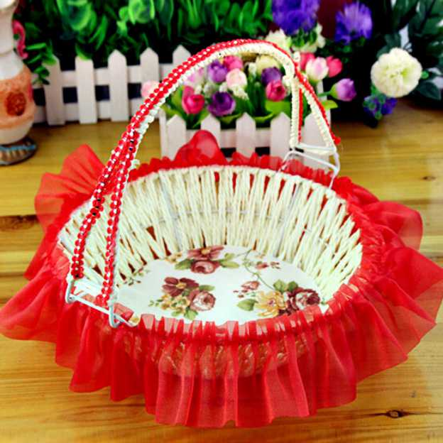 Satin Blushing Pink Flower Baskets With Ruffles