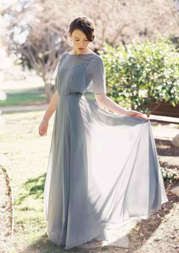 A-Line/Princess Bateau Short Sleeve Long/Floor-Length Chiffon Bridesmaid Dress