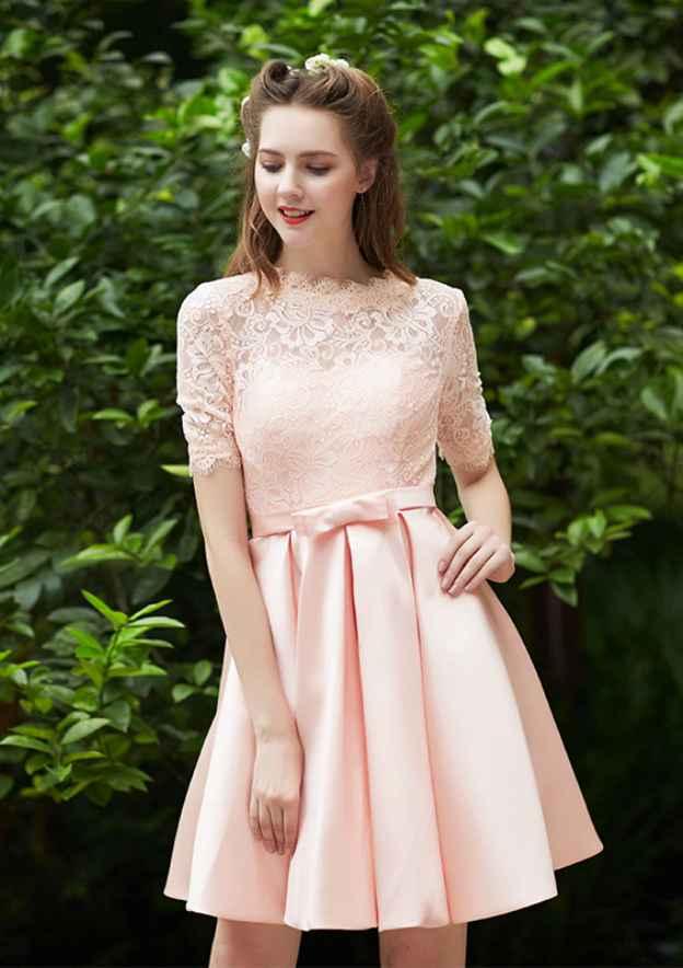 A-Line/Princess Bateau Short Sleeve Short/Mini Satin Bridesmaid Dress With Waistband Pleated Lace