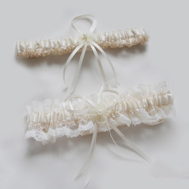 Lace Special Occasion Wedding Garter With Flowers Ribbon