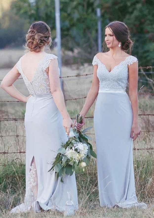 Sheath/Column V Neck Sleeveless Sweep Train Elastic Satin Bridesmaid Dresses With Lace
