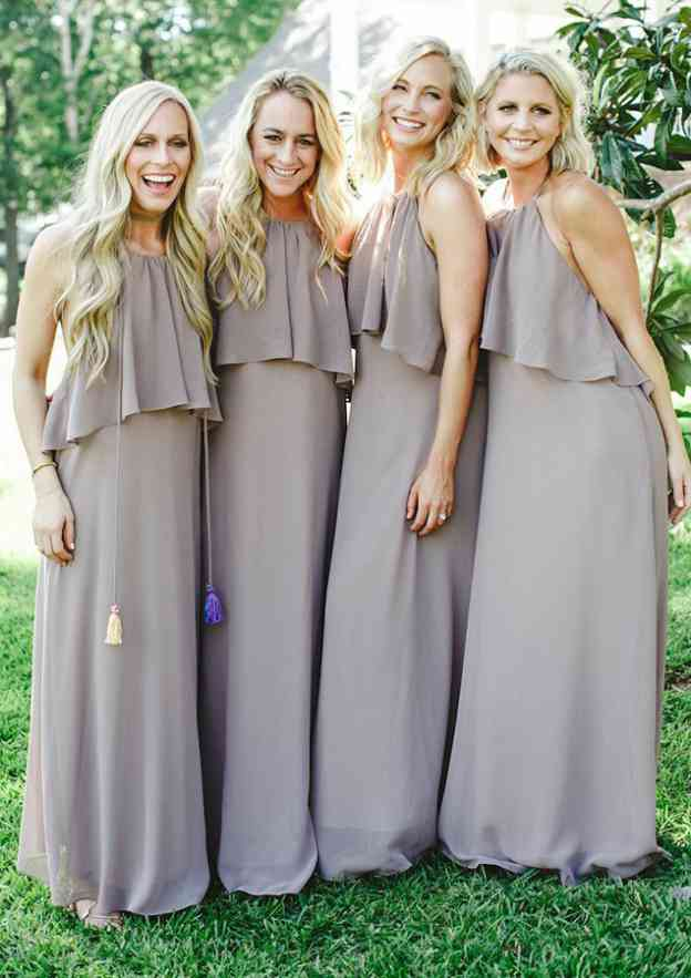 A-Line/Princess Scoop Neck Sleeveless Long/Floor-Length Chiffon Bridesmaid Dresses With Ruffles