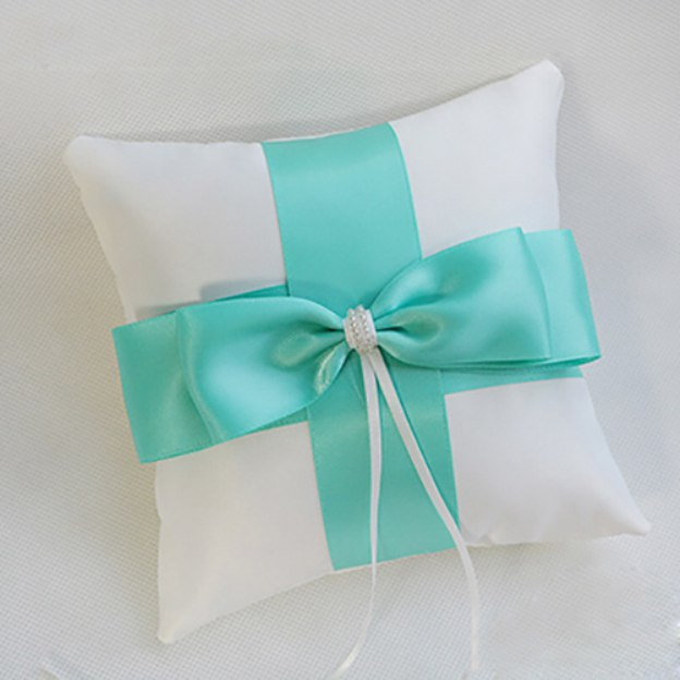 Wedding As Picture Satin Ring Pillow With Bowknot Ribbons