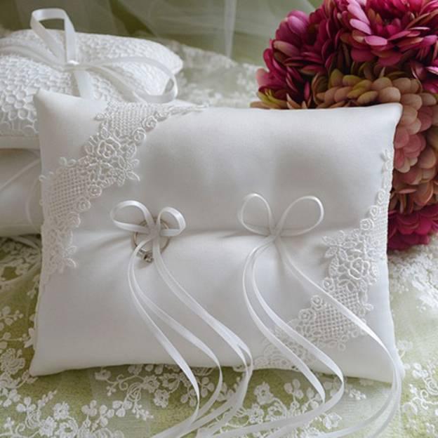 Wedding Ivory Satin Ring Pillows With Beading Ribbons