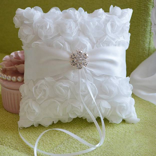 Wedding As Picture Satin Ring Pillows With Rhinestone Flower Ribbons