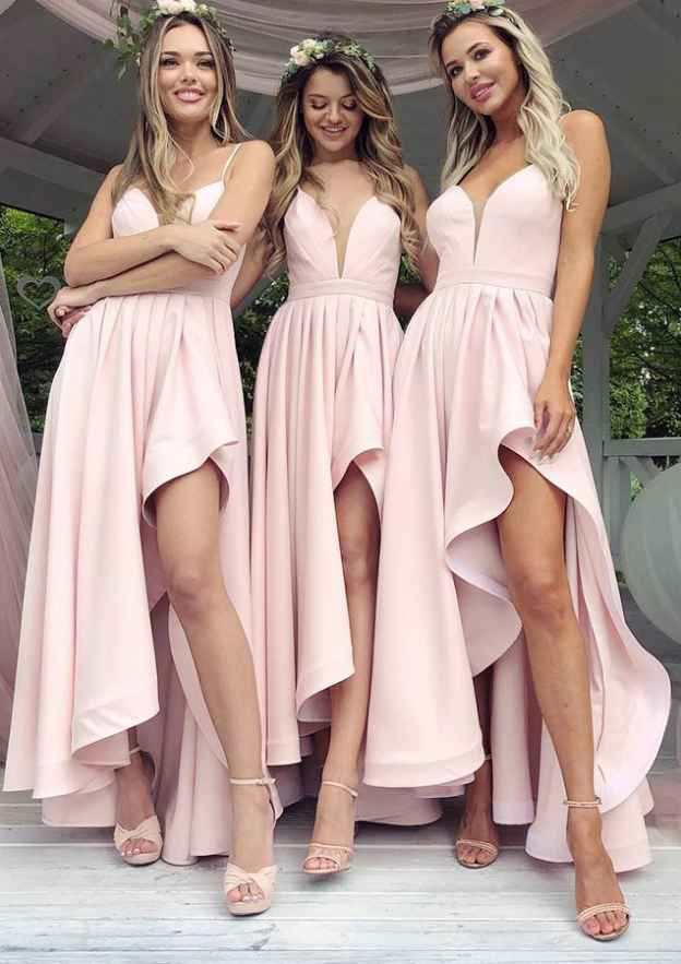 A-Line/Princess Sweetheart Sleeveless Asymmetrical Elastic Satin Bridesmaid Dresses With Pleated Split