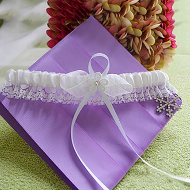 Satin Special Occasion Garter With Lace Flowers Ribbon