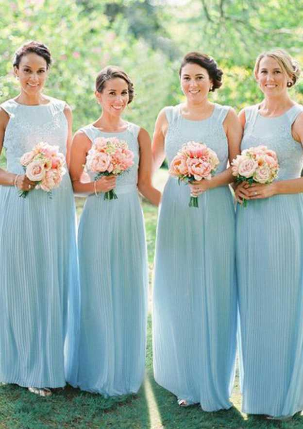 A-Line/Princess Scoop Neck Sleeveless Long/Floor-Length Chiffon Bridesmaid Dresses With Lace