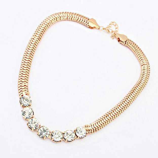 Alloy Fashion Necklace With Rhinestones