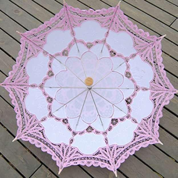 Cotton Women'S Post Handle Wedding Umbrellas