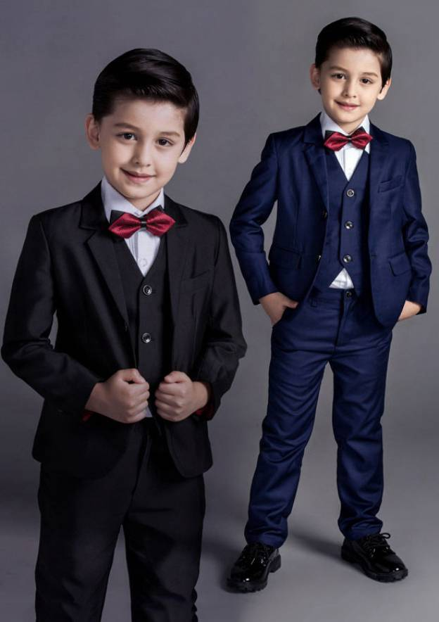 Polyester/Cotton Blend Black Ring Bearer Suits