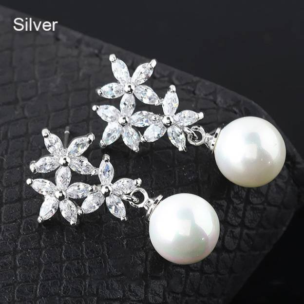 Alloy Irregular Earclip Fashion Earrings With Imitation Pearls Rhinestone