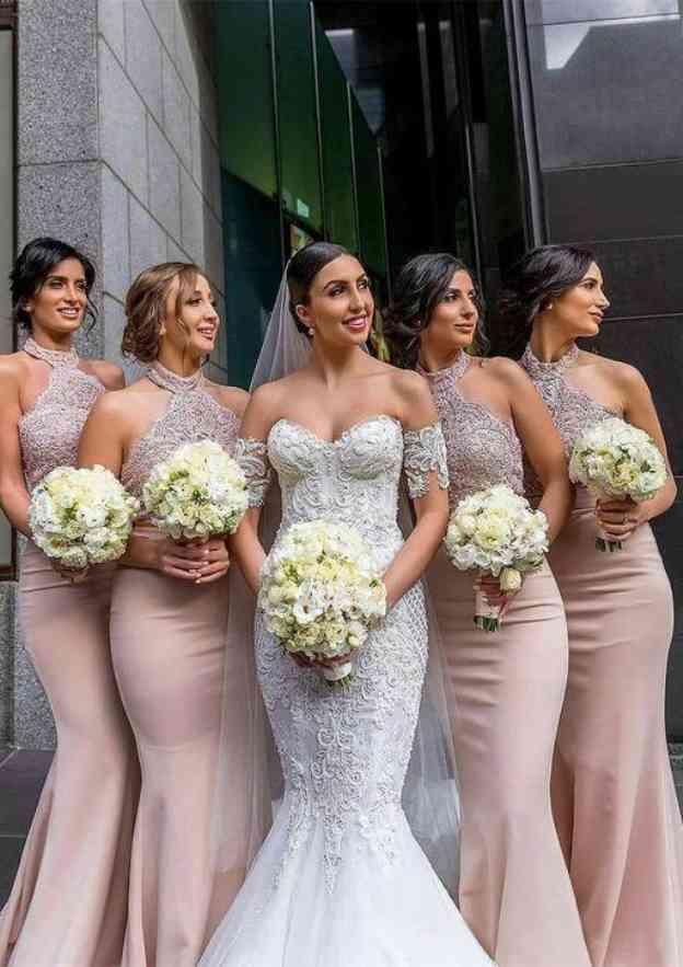 Trumpet/Mermaid Halter Sleeveless Long/Floor-Length Elastic Satin Bridesmaid Dresses With Appliqued Beading