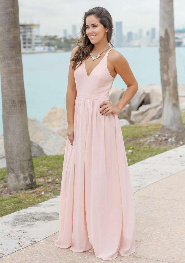 A-Line/Princess V Neck Sleeveless Long/Floor-Length Chiffon Bridesmaid Dress With Lace Pleated