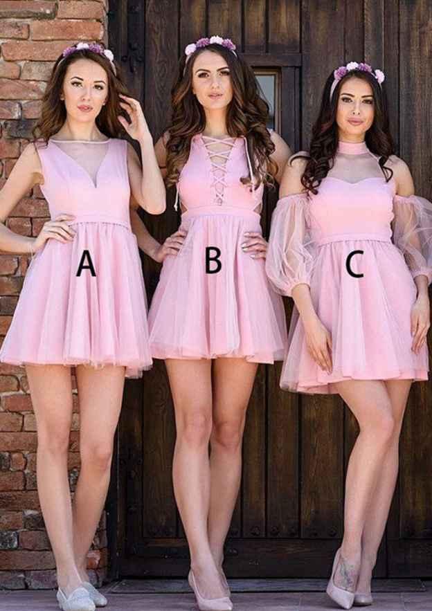A-Line/Princess Bateau Sleeveless Short/Mini Tulle Bridesmaid Dresses With Pleated