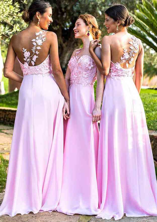 A-Line/Princess One-Shoulder Sleeveless Sweep Train Chiffon Bridesmaid Dresses With Appliqued
