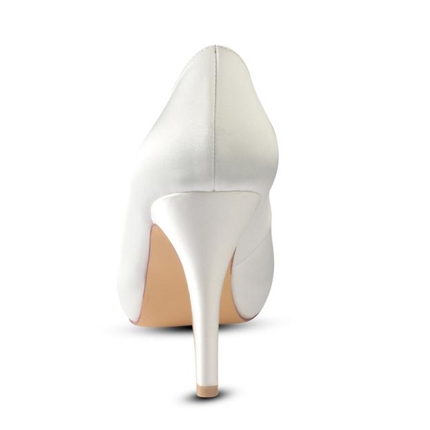 Close Toe Platform Stiletto Heel Satin Wedding Shoes With Bowknot Rhinestone