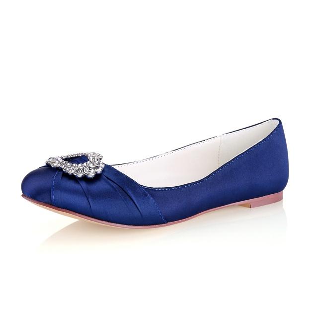 Close Toe Flat Heel Satin Wedding Shoes With Crystal
