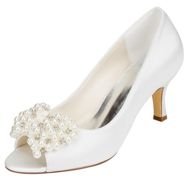 Peep Toe Stiletto Heel Charmeuse Wedding Shoes With Imitation Pearl Rhinestone