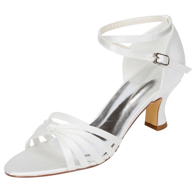 Sandals Chunky Heel Charmeuse Wedding Shoes
