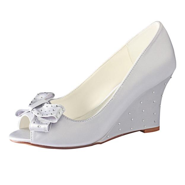 Peep Toe Wedge Heel Satin Wedding Shoes With Bowknot