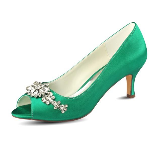 Peep Toe Sandals Stiletto Heel Satin Wedding Shoes With Crystal