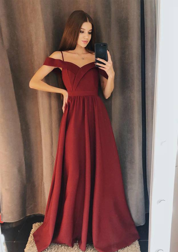 A-Line/Princess Scalloped Neck Sleeveless Long/Floor-Length Elastic Satin Prom Dress With Pleated