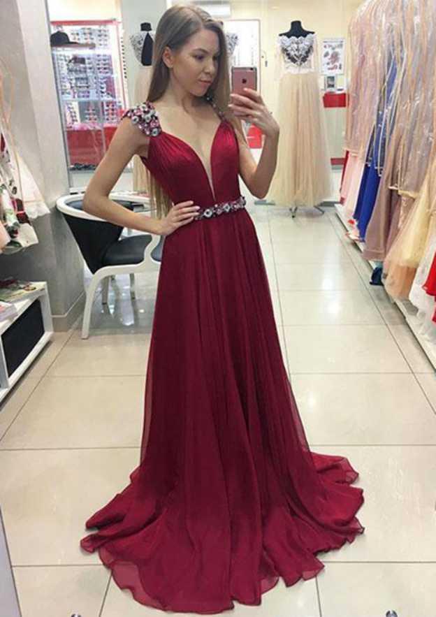 A-Line/Princess V Neck Sleeveless Sweep Train Chiffon Prom Dress With Beading Waistband