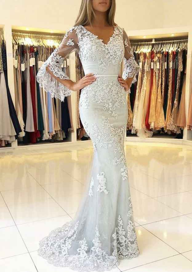 Trumpet/Mermaid V Neck 3/4 Sleeve Sweep Train Tulle Evening Dress With Waistband Appliqued