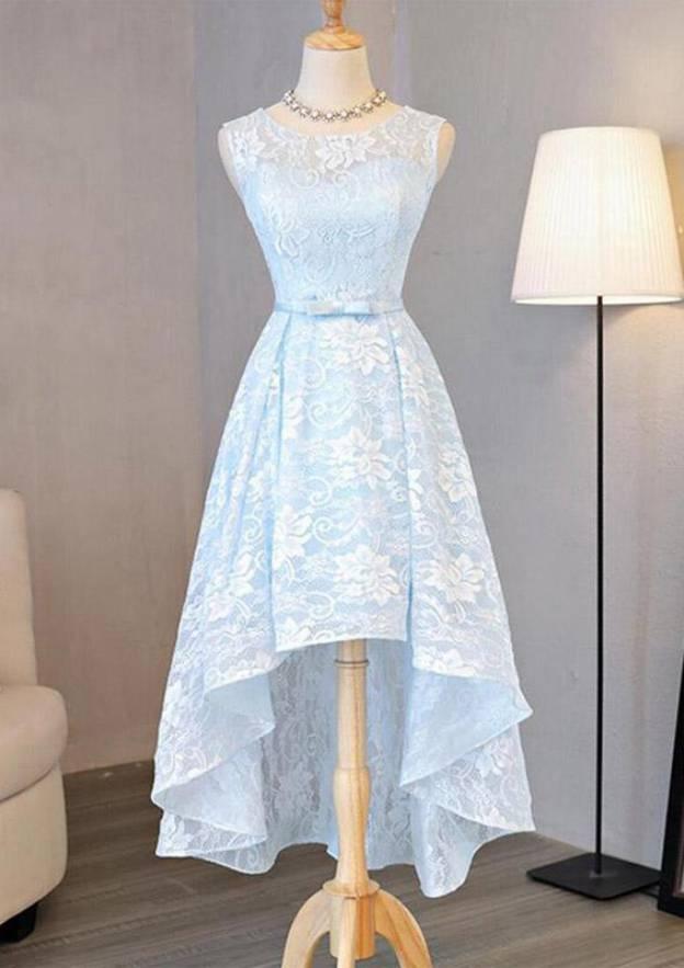 A-Line/Princess Bateau Sleeveless Asymmetrical Lace Prom Dress With Waistband Bowknot