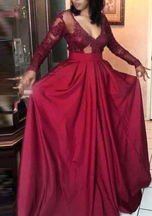 A-Line/Princess V Neck Full/Long Sleeve Long/Floor-Length Satin Evening Dress With Lace Pleated