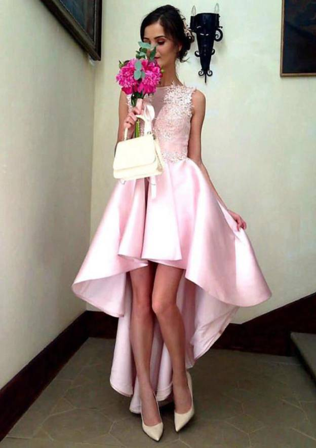 A-Line/Princess Bateau Sleeveless Asymmetrical Satin Prom Dress With Appliqued