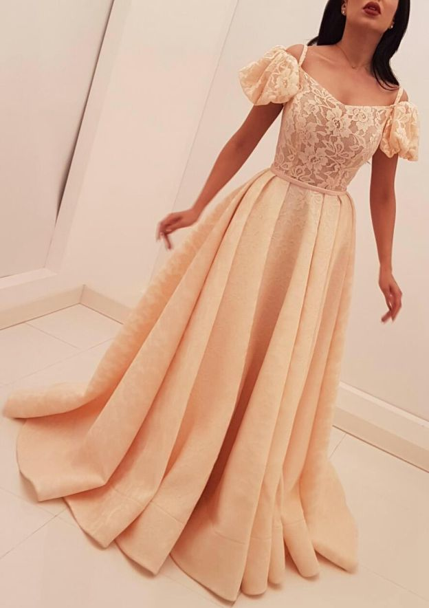 A-Line/Princess Scalloped Neck Short Sleeve Sweep Train Lace Prom Dress With Pleated Waistband