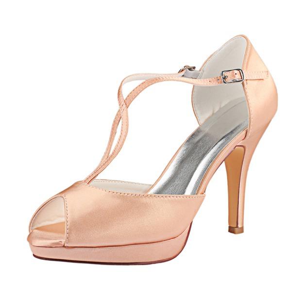 Close Toe Platform Stiletto Heel Satin Wedding Shoes