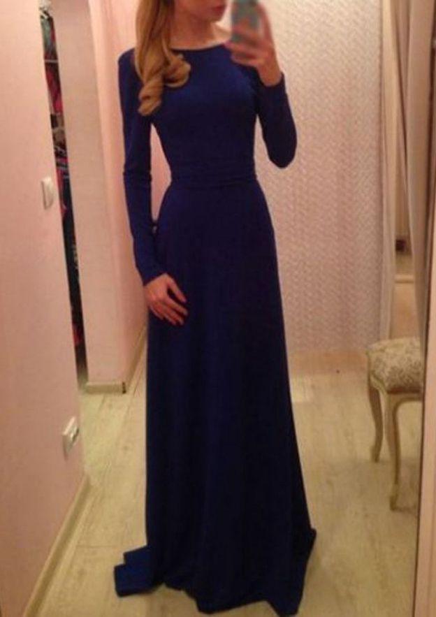 A-Line/Princess Bateau Full/Long Sleeve Long/Floor-Length Elastic Satin Prom Dress With Sashes